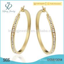 Gold billig Großhandel Kristall Reifen Ohrringe Frauen