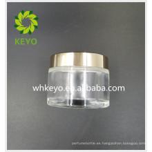 Tarro de cristal cosmético vacío de la forma redonda de 50g 100g con el tarro de caren transparente del golpecito