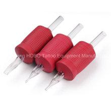 Tubos descartáveis baratos da tatuagem do silicone vermelho da máquina 30mm com ponta