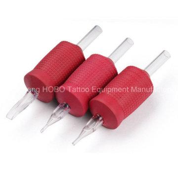 Tubos desechables baratos del tatuaje del silicón rojo de la máquina 30m m con la extremidad