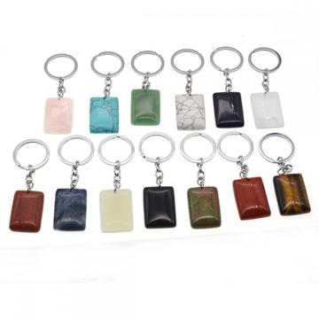 Natural oblong Rectangle Gemstone Beads Pendant Keychain