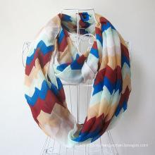 Леди мода волна печатных полиэстер шифон бесконечность шарф (YKY1099-4)