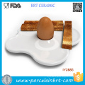 Custom Ceramic Fried Bread White Plates with Egg Cup