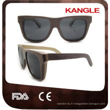 2017 Date OEM amical avec lentilles polarisées lunettes de soleil en bois de planche à roulettes