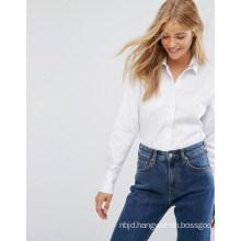 Women Long Sleeve Shirt with Stand Collar Shirt
