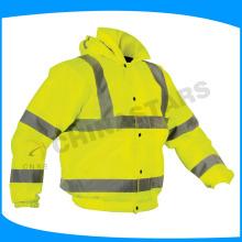 Hohe Sichtbarkeit gelbe Sicherheitsjacke mit Baumwollpolsterung