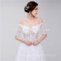 Braut Scoop Ausschnitt aus Schulter trägerlosen Spitze elegante muslimische Hochzeitskleid