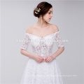 Decote de colher de noiva fora do ombro Strapless Lace elegante vestido de casamento muçulmano