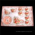 Elegant coffee ware 17 pieces new bone China coffee 6 cups 6 saucers tea pot pink ceramic tea set