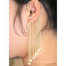 Hängende individuelle Perle Macrame Ohrstulpe in Gold Ohrring Schmuck EC31