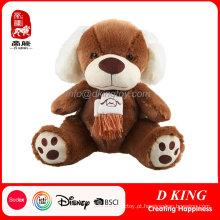 Cão de brinquedo macio de pelúcia marrom Cão de brinquedo de pelúcia com cachecol