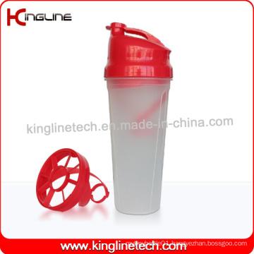 BPA Free 700ml Plastic Protein Shaker Bottle with Plastic Blender (KL-7009)