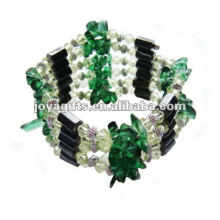 Magnetic Green Glass Chip Beaded wrap Bracelets & Necklace 36""