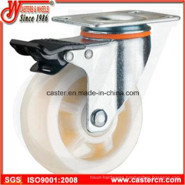 4 Inch Medium Duty Swivel White PP Caster with Double Brake