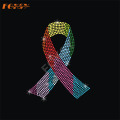 Ribbon Breast Cancer Iron on Rhinestone Motif