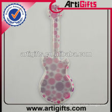 Guitar shape pvc reflective key chain