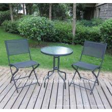 Schlingenstuhl und Tischset aus Metall