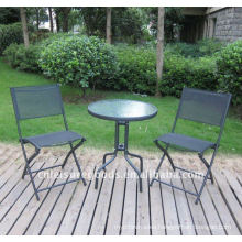 Metal sling chair and table set
