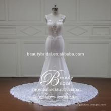 Illusion v-neck et v-back élégante sirène robe de mariée Chine vente en gros robe de mariée sans manches