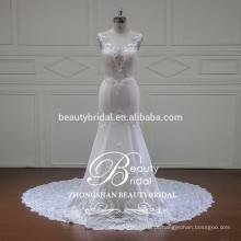 Ilusão v-pescoço e v-back elegante sereia vestido de noiva China atacado vestido de noiva sem mangas