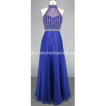 Elegant Purple Halter Prom Dress Beading Designs