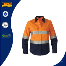 Long Sleeve 100% Cotton Drill Hi Vis Wholesale Safety Shirts