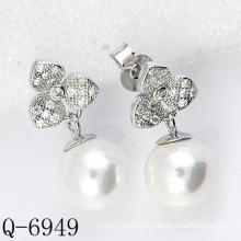2015 Последние стили Культурная жемчужина Серьги 925 Серебро (Q-6949)