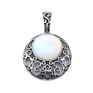 Opal 20MM Cabochon Alloy Gemstone Pendant