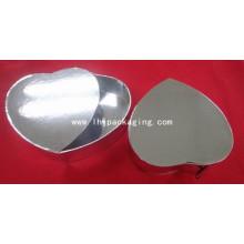 Embalaje de chocolate de forma de corazón Embalaje de papel de regalo de plata