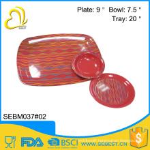 fine print custom square round melamine dinner set bamboo platter