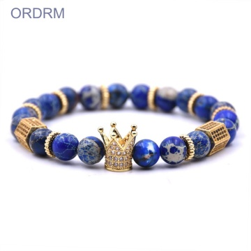 Custom blue gemstone bead crown armband mens
