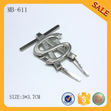 MB611 2016 silver prong pin metal tag custom handbag brand tag logo