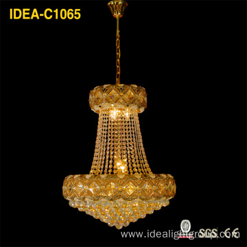 European traditional yellow crystal chandelier living room lamp bedroom led lamp room lamp