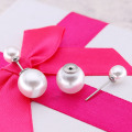 Wholesale double pearl earrings stud