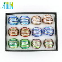 Los anillos de cristal más nuevos del oro del Lampwork del remolino 12pcs / box, MC1013