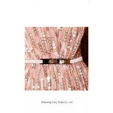 Tela del bordado de los cequis del vestido de la manera