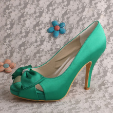 Green+Bows+Brides+Shoes+for+Wedding