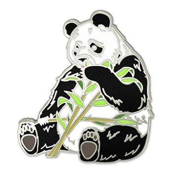 Panda Bear Eating Bamboo Animal Enamel Revers Pin