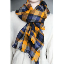 worsted cashmere light checked scarves