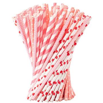 Palhas de papel de cor listrada de alta qualidade feita sob encomenda do produto comestível biodegradáveis, palhas bebendo do papel por atacado