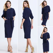 Half Sleeve Round Collar Neck Slim Peplum Pencil Elegant Dress