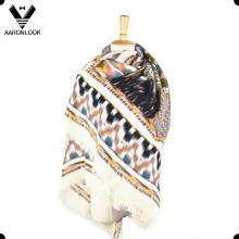 Женская мода мягкий акриловый напечатанный квадратный узор шаль шарф Wrap