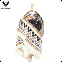 Мода мягкой акриловой печатной шаблон площади платок шарф обернуть