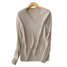 Frauen traditionellen V-Ausschnitt Pullover Hand gestrickt lässig Herbst Winter Pullover Pullover 100% Kaschmir-Pullover