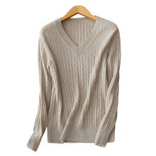 Women traditional V neck sweater hand knitted casual autumn winter pullover sweater 100% cashmere sweaters