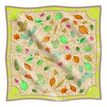 Printemps Original Leaf Design Écharpe musulmane en soie de grande taille