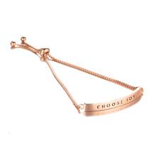 ESCOLHER ALEGRIA Pulseira em ouro rosa gravada ajustável