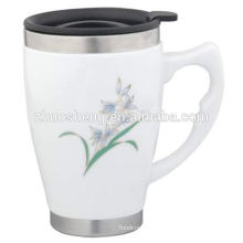 2015 top selling customized double wall colorful ceramic coffee mug cup with handle and lid