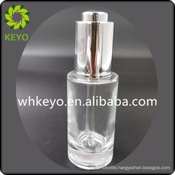 30ml 50ml luxury essential oil transparent colored empty cosmetic packing glass dropper bottle with metal press dropper