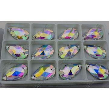Flated Drop Ab Coudre sur des pierres décoratives en pierre de cristal